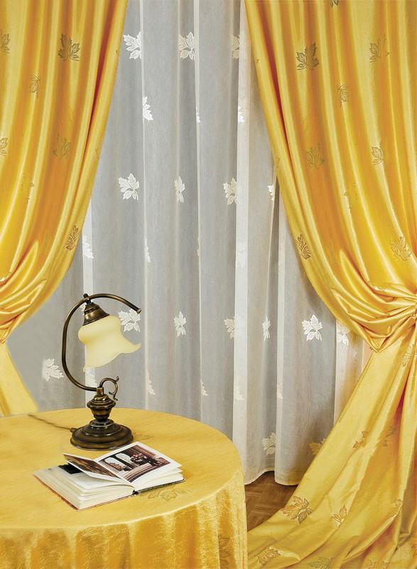 Готовые шторы 25880/250, КЛЕНОВЫЙ ЛИСТ, комплект для гостиной, тюль- креш кремового цвета размеры: 250 см высота х 500 см ширина, портьеры средней плотности размеры (250 см высота * 155 см ширина) х 2, золотистые.