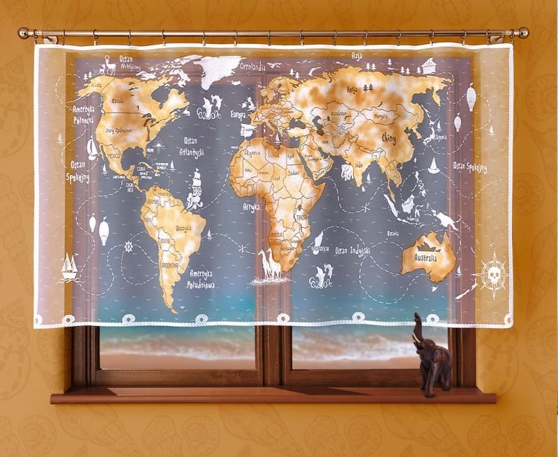 Готовые шторы. 208 Е, Mapa (Карта), размеры: 215 см ширина * 120 см высота, пошита на универсальной шторной ленте