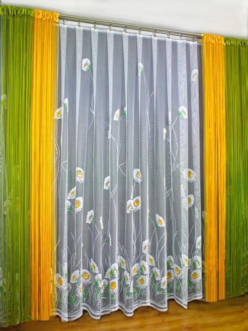 Готовые шторы 0008 комплект РОМАШКИ, размеры - тюль: 250 см высота * 500 см ширина, шторы-лапша: (250 см высота * 150 см ширина) * 4