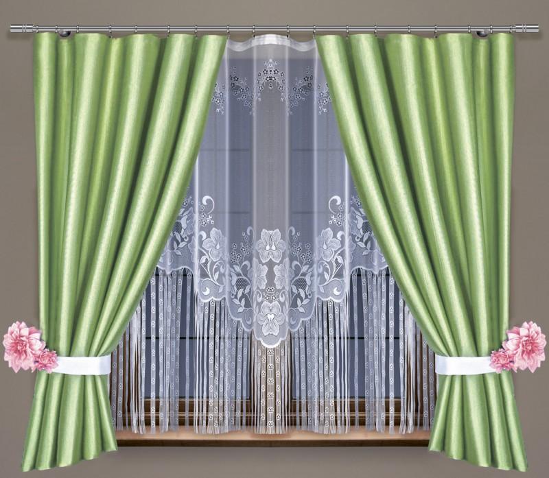 Готовые шторы 209400/30910, ВЬЮНОК, КОМПЛЕКТ для кухни,  размеры:  тюль 300 см ширина 150 см высота, портьеры 155 см ширина * 160 см высота каждая