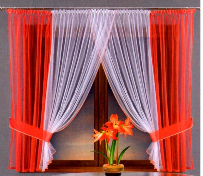 Готовые шторы 5882,  Katia (Катя), КОРАЛЛОВЫЙ,  размеры: цветные шторки - 150 см ширина * 180 см высота,  белые шторки (сшиты вместе) - 300 см ширина * 180 см высота