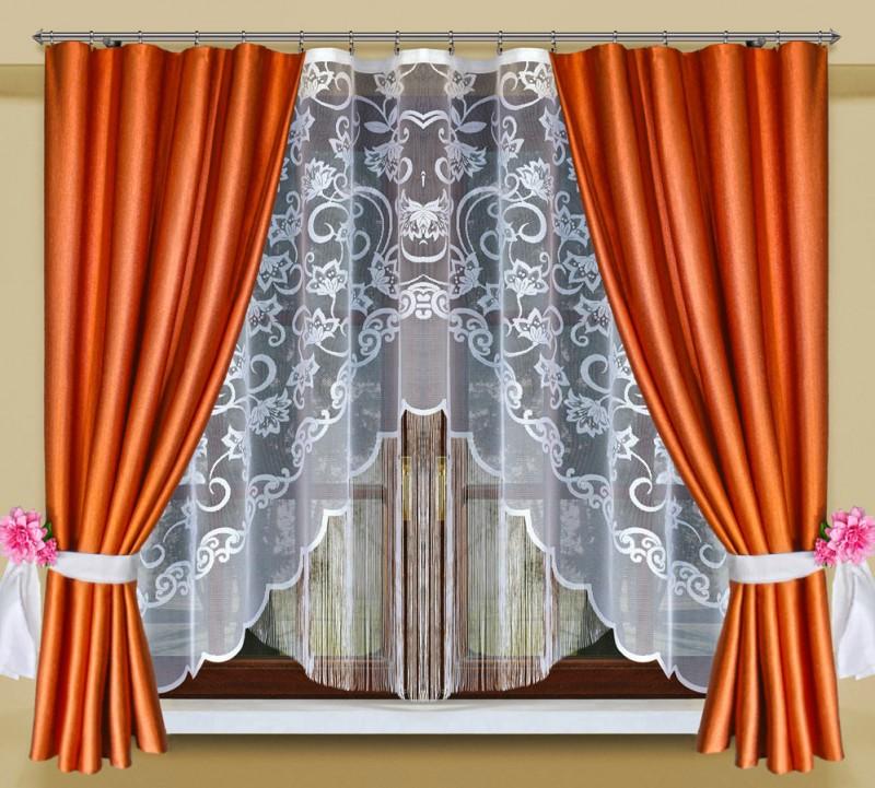 Готовые шторы 207091/30910, ОГОНЕК,  КОМПЛЕКТ для кухни, размеры:  тюль 300 см ширина 170 см высота, портьеры 155 см ширина * 180 см высота каждая
