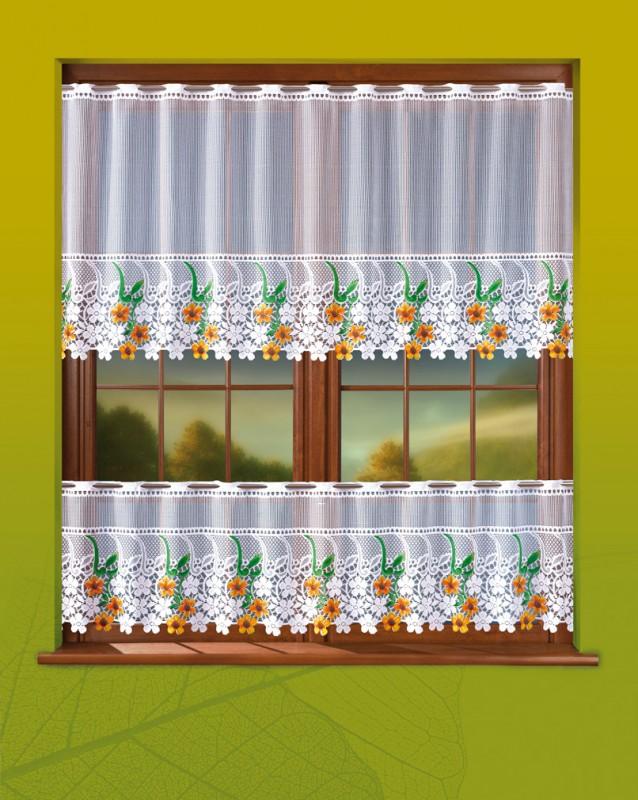 Готовые шторы 672/037, КОМПЛЕКТ ДЛЯ КУХНИ, ЦВЕТОЧНАЯ ПОЛЯНА, размеры : ширина шторок -200 см,  высота верхней шторы  90 см, высота нижней шторы 50 см