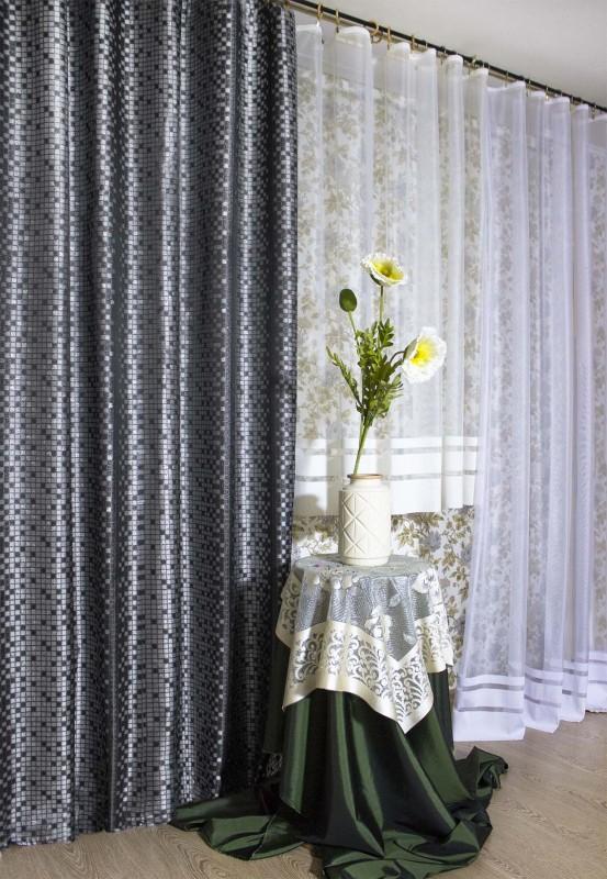 арт.                                             4812а-П, парча КВАДРАТЫ, цвет - серебро-серо-черный, ширина 185 см