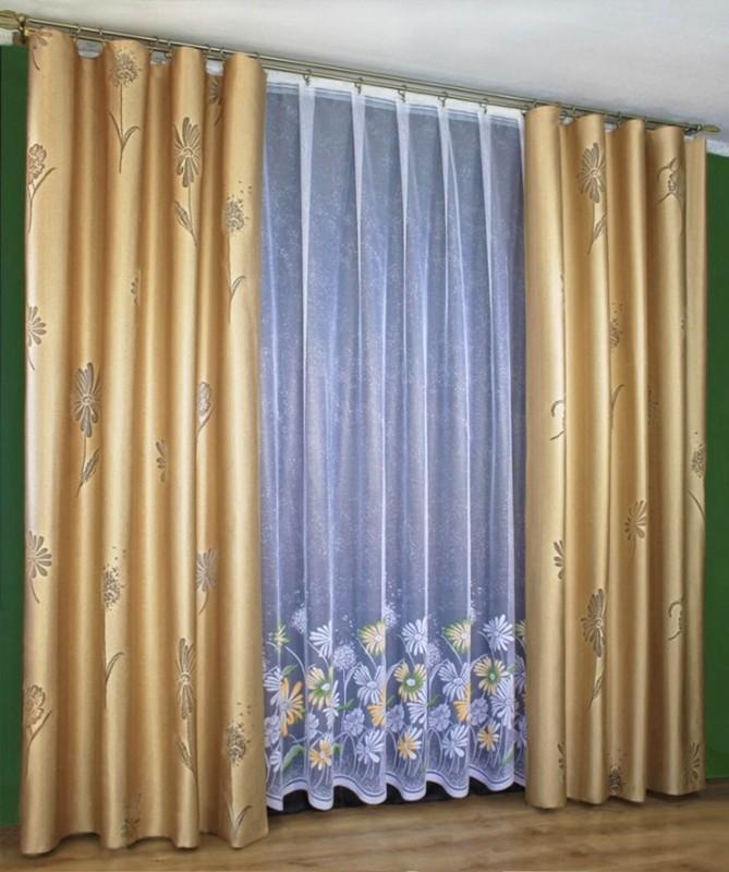 Готовые шторы 50070/250, комплект штор ГЕРБЕРЫ, размеры: тюль 250 см высота * 500 см ширина, шторы  плотные - (250 см высота * 155 см ширина)*2, цвет штор - БРОНЗА, с вытканным рисукнком. Бесплатно подошьем  на Вашу высоту !
