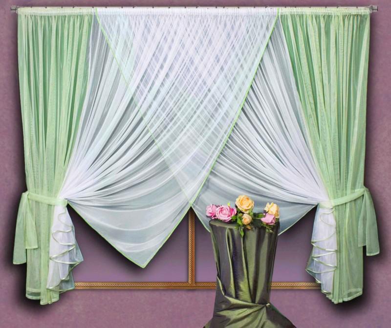 Готовые шторы 0417, Sofia (Софья), цвет: фисташковый, шторки (300см ширина х 180см высота) х 2