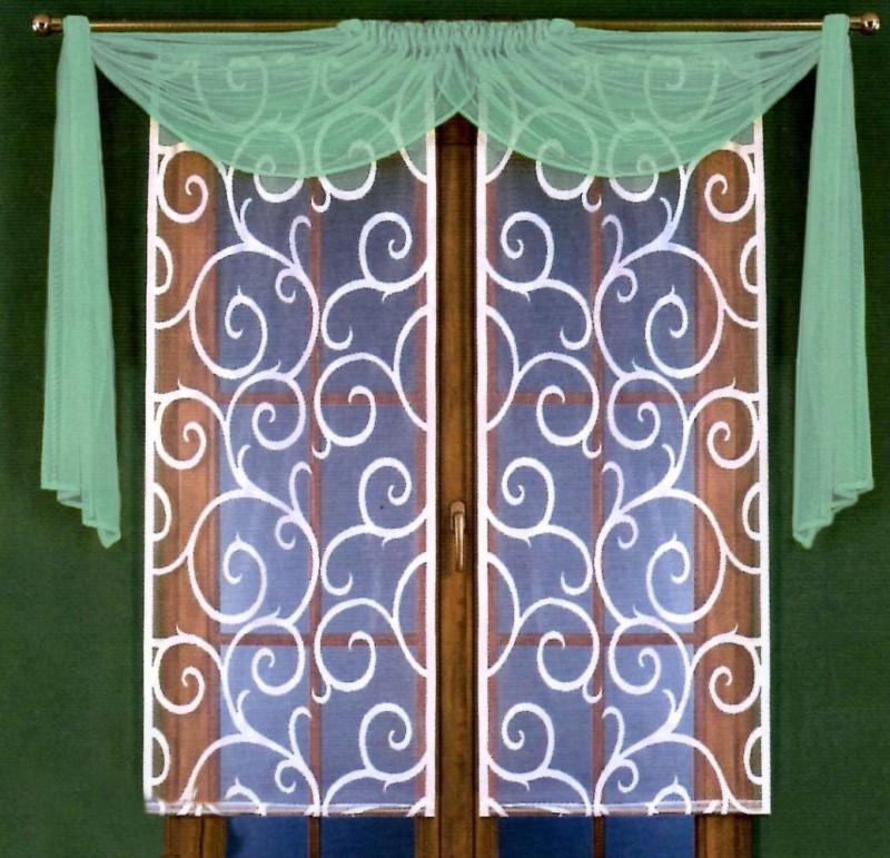 Готовые шторы 5880, Kamila (Камила),  комплект в восточном стиле. Цвет ламбрекена - фисташковый,  размеры: белые панели - 60 см ширина * 150 см высота каждой, драппировка - (150 см * 220 см) х 2, нижнего утяжелителя - нет