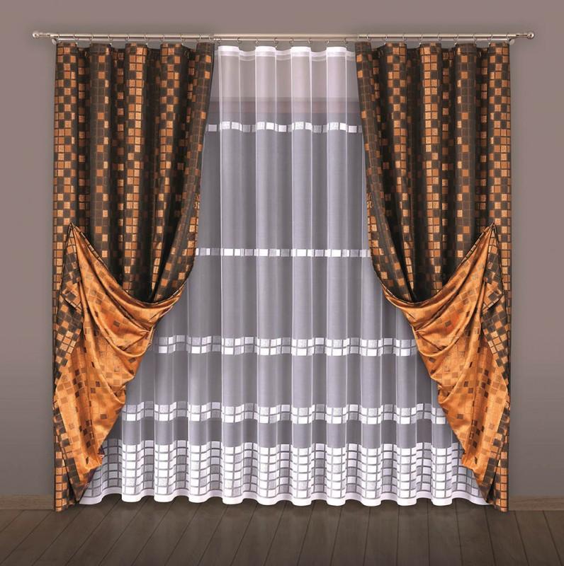Готовые шторы 510, КВАДРАТЫ,  размеры: тюль - 500 см ширина Х 250см высота, шторы - (185 см ширина Х 250 см высота) Х 2,  БЕСПЛАТНО ПОДОШЬЕМ НА ВАШУ ВЫСОТУ.