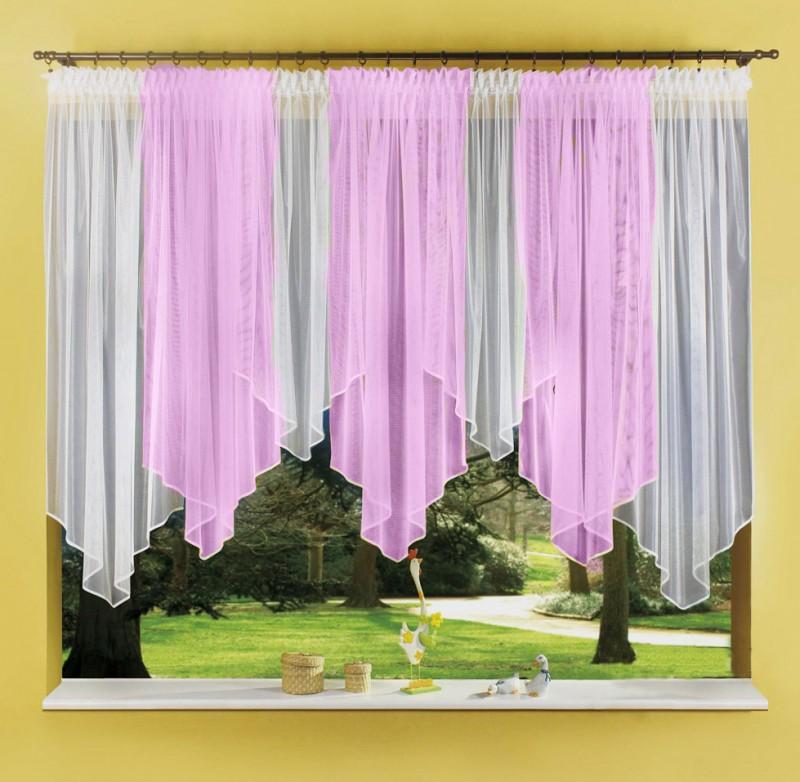 Готовые шторы 0723, Patrycja (Патрисия), бело- розовый. Размеры: 520 см ширина * 160 см высота