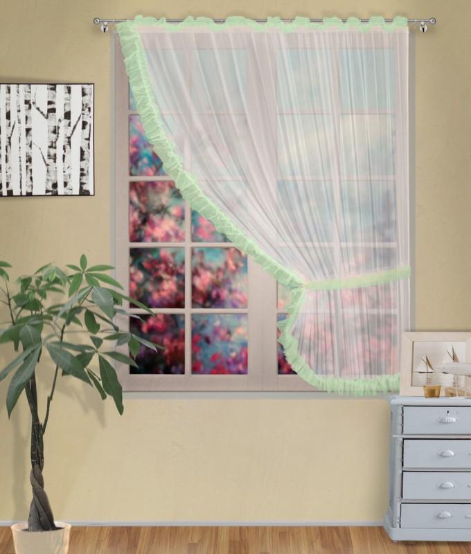 Готовые шторы арт.                                             207303 крем/фисташка, ДИАНА, ПРАВАЯ, цвет основы - крем, фисташковая оборка, размеры: 200 см ширина х 170 см высота