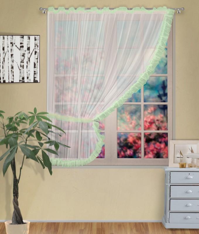 Готовые шторы арт.                                             207303 крем/фисташка, ДИАНА, ЛЕВАЯ, цвет основы - крем, фисташковая оборка, размеры: 200 см ширина х 170 см высота