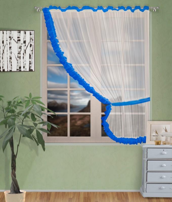 Готовые шторы арт.                                             207303 крем/синий, ДИАНА, ПРАВАЯ, цвет основы - крем, синяяя оборка, размеры: 200 см ширина х 170 см высота