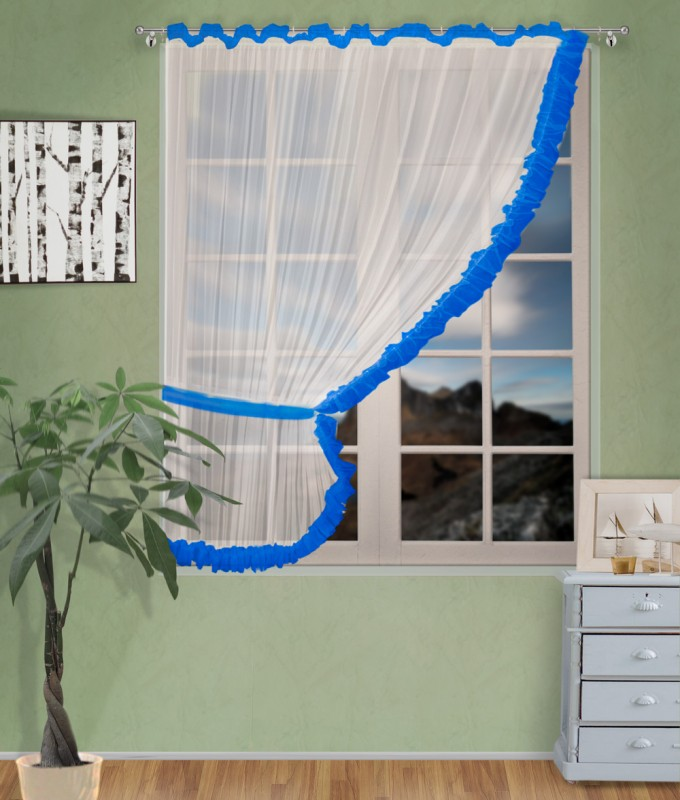 Готовые шторы арт.                                             207303 крем/синий, ДИАНА, ЛЕВАЯ, цвет основы - крем, синяяя оборка, размеры: 200 см ширина х 170 см высота