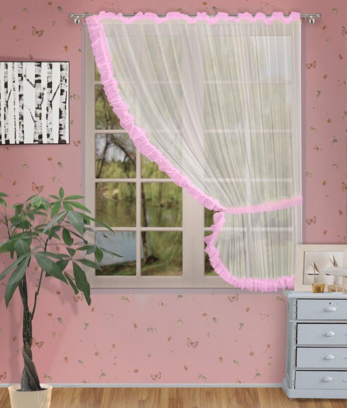 Готовые шторы арт.                                             207303 крем/розовый, ДИАНА, ПРАВАЯ, цвет основы - крем, розовая оборка, размеры: 200 см ширина х 170 см высота