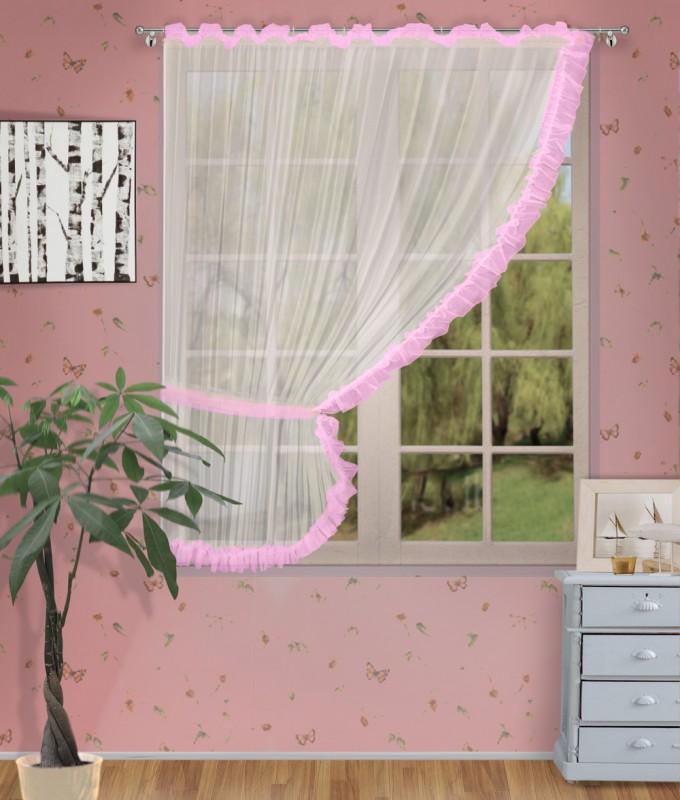 Готовые шторы арт.                                             207303 крем/розовый, ДИАНА, ЛЕВАЯ, цвет основы - крем, розовая оборка, размеры: 200 см ширина х 170 см высота