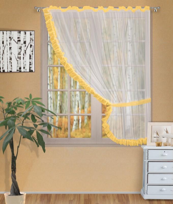 Готовые шторы арт.                                             207303 крем/персик, ДИАНА, ПРАВАЯ, цвет основы - крем, персиковая оборка, размеры: 200 см ширина х 170 см высота