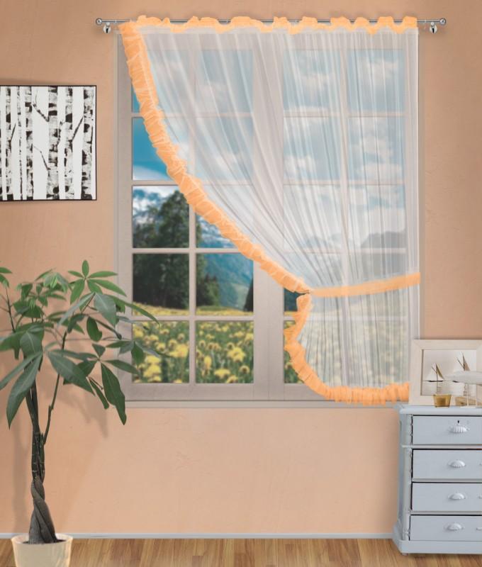 Готовые шторы арт.                                             207303 крем/оранжевый, ДИАНА, ПРАВАЯ, цвет основы - крем, оранжевая оборка, размеры: 200 см ширина х 170 см высота