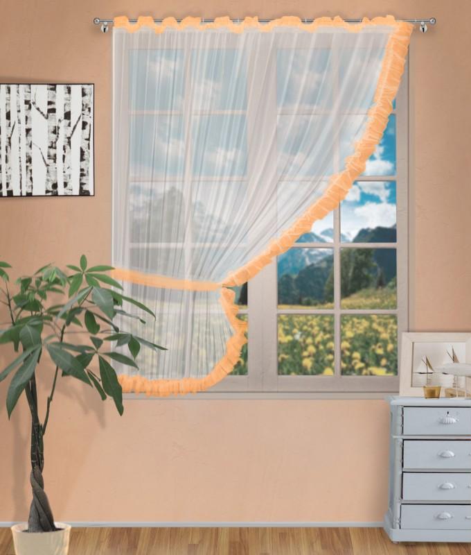 Готовые шторы арт.                                             207303 крем/оранжевый, ДИАНА, ЛЕВАЯ, цвет основы - крем, оранжевая оборка, размеры: 200 см ширина х 170 см высота