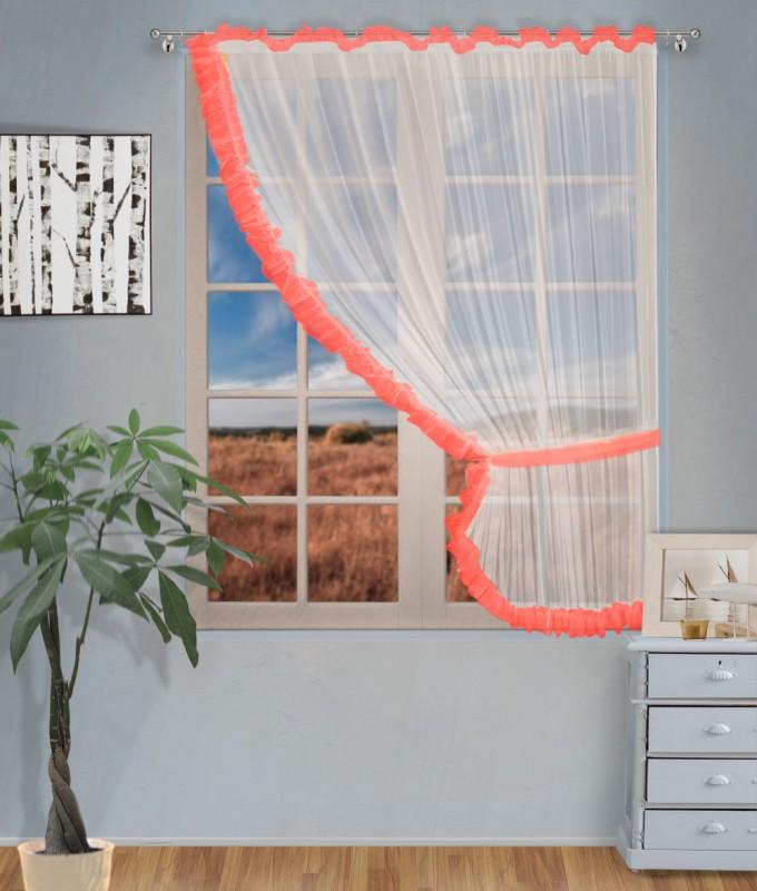 Готовые шторы арт.                                             207303 крем/коралл, ДИАНА, ПРАВАЯ, цвет основы - крем, коралловая оборка, размеры: 200 см ширина х 170 см высота
