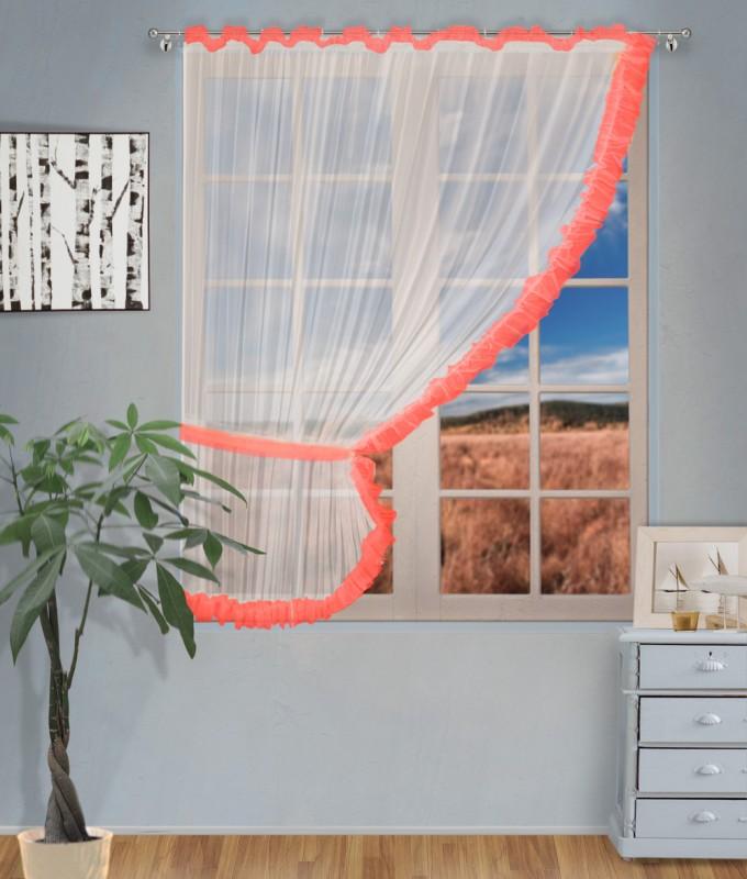 Готовые шторы арт.                                             207303 крем/коралл, ДИАНА, ЛЕВАЯ, цвет основы - крем, коралловая оборка, размеры: 200 см ширина х 170 см высота