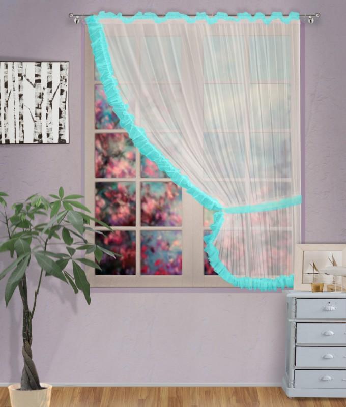 Готовые шторы арт.                                             207303 крем/бирюза, ДИАНА, ПРАВАЯ, цвет основы - крем, бирюзовая оборка, размеры: 200 см ширина х 170 см высота