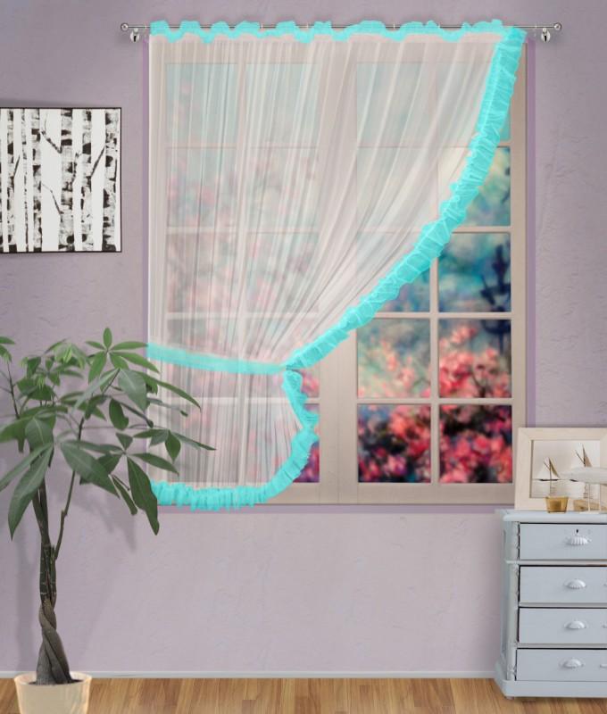 Готовые шторы арт.                                             207303 крем/бирюза, ДИАНА, ЛЕВАЯ, цвет основы - крем, бирюзовая оборка, размеры: 200 см ширина х 170 см высота