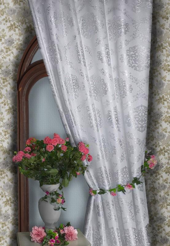 арт.                                             4840а-П, парча ВИЗАНТИЯ, цвет - серебро-белый,  с серебрянной люрексовой нитью, ширина 185 см
