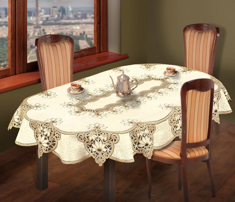 Скатерть  231501/120/3, овальная, размеры: 120 см х 160 см, цвет: кремово-золотистый