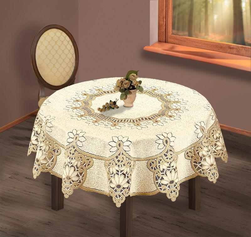 Скатерть  231503/200/3, круглая, Д=200 см, цвет: кремово-золотистый