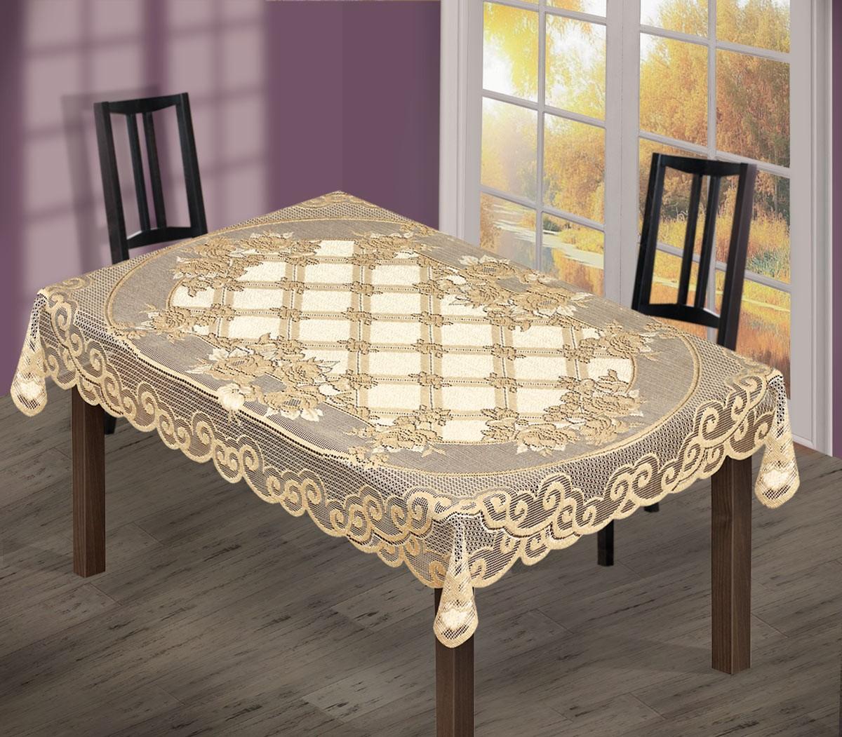 Скатерть  244034/150/3, прямоугольная, размеры:150 см х 250 см,  цвет: кремово-золотистый