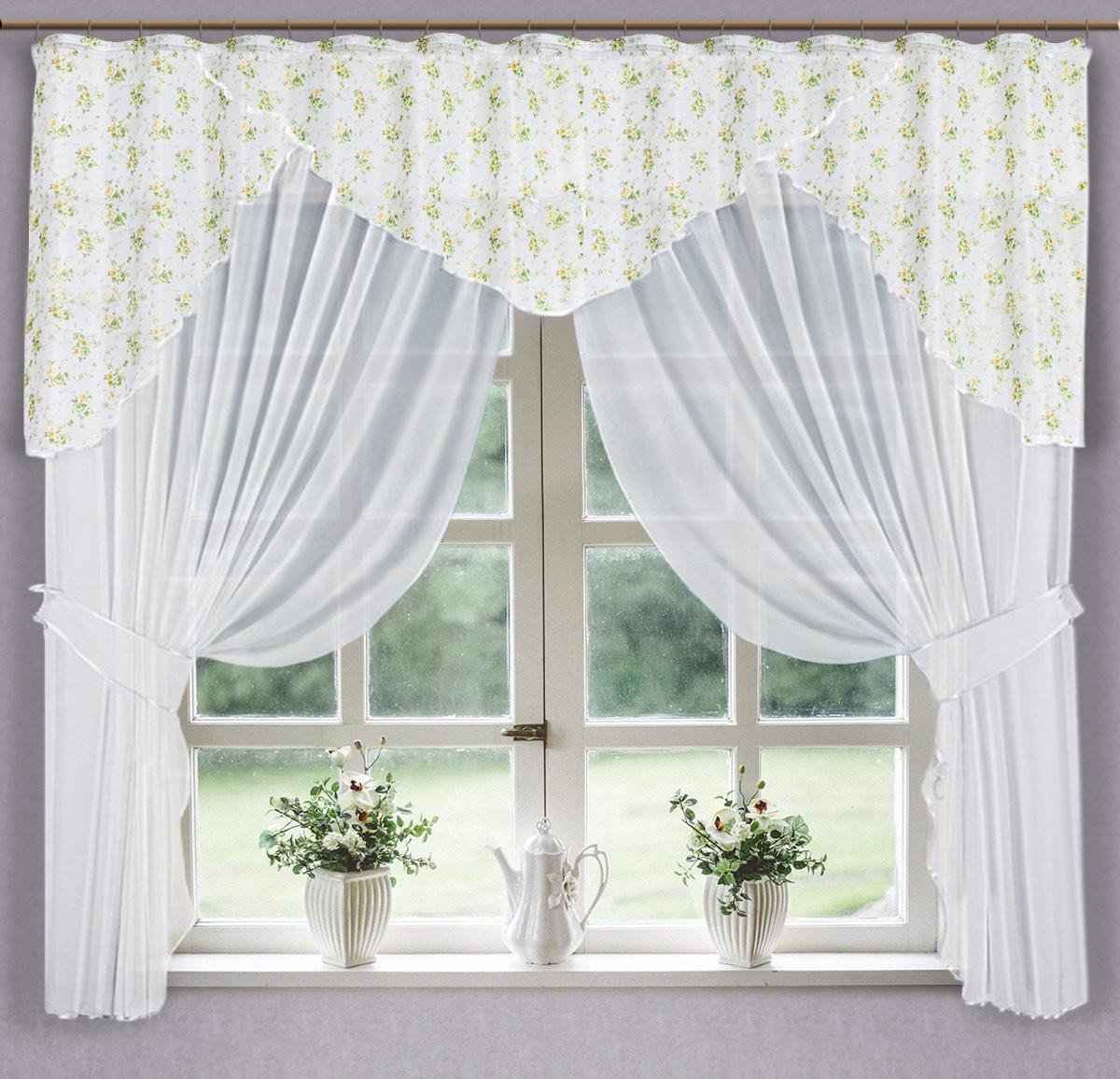 0027/БЗ, ВИРДЖИНИЯ, комплект из вуали , цвет бело-зеленый, размеры 300 см ширина, 180 см высота, состоит из 3-х деталей. подхваты входят в комплектицию