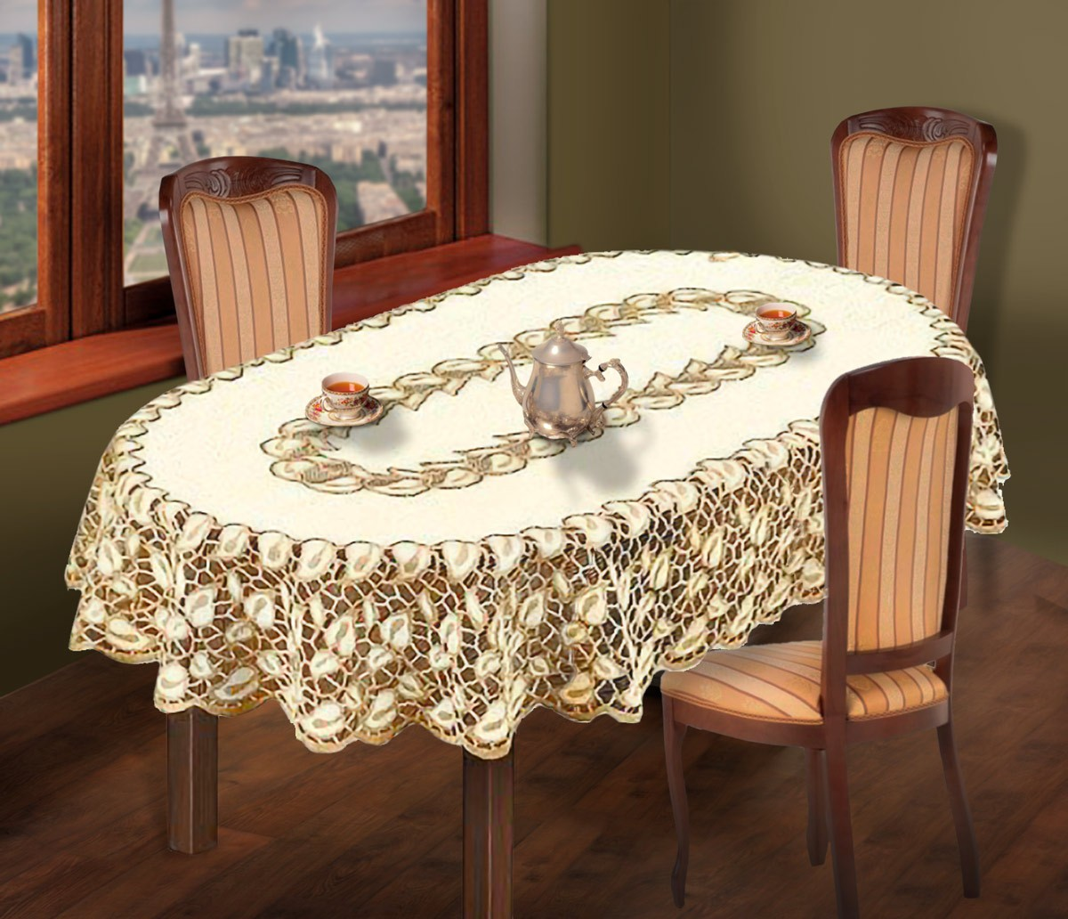 Скатерть  231051/100, овальная, размер 100 см х 150 см,  цвет: кремово-золотистый